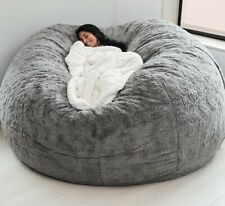 8ft Giant Fur Bean Bag Cover Soft Fluffy Fur Portable Living Room Sofa Bed.