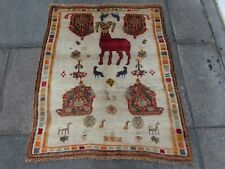 Vintage Old Traditional Hand Made Oriental Gabbe Wool Brown Cream Rug 109x90cm