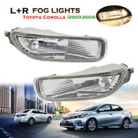 Front Clear Lens Driving Lamps Fog Lights Kit For Toyota Corolla 2003-2004