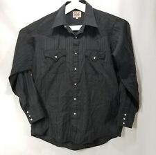 Ely Cattleman Mens Western Shirt Size Large 16x34 Pearl Snap Rodeo Cowboy Black