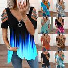 ⭐⭐⭐⭐⭐ Women Summer Floral Cold Shoulder V Neck Tops Ladies T Shirt Loose Blouse