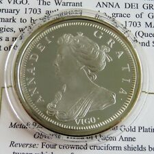 More details for queen anne 1703 vigo five guineas gold on hallmarked silver proof - coa