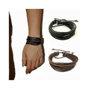 Handmade Leather Men Boys Braided Wristband Surfer Bracelet Bangle Wrap Brown