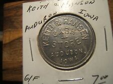 KEITH & HANSEN CAST STORE  AUDUBON, IOWA  Medal-Token GOOD FOR $1.00 IN TRADE