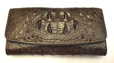 Genuine Crocodile Alligator Wallets Skin Leather Head Brown Trifold Women Clutch