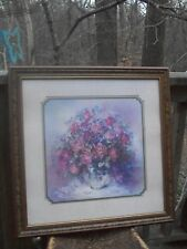 Vtg Home Interiors Framed Picture Print Roses Bouquet by Julia Crainer 27.5 x 27