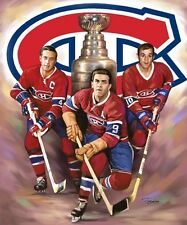 three Canadiens: giclee print on canvas poster painting for autograph  B-0118