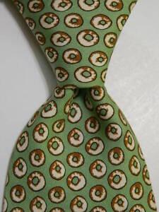 VINEYARD VINES Custom Collection Mens Silk Necktie Luxury DONUTS Green/Brown GUC