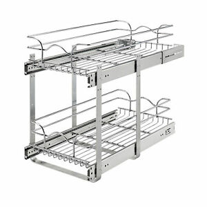 """Rev-A-Shelf 5WB2-1222CR-1 12"""" x 22"""" 2-Tier Cabinet Pull Out Wire Baskets, Chrome"""