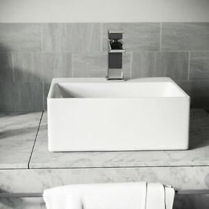 Small Bathroom Sink Basin Hand Wash Counter Top Square Bowl Wall Hung / Mounted
