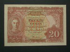**** Scarce KG  Crisp  Malaya  'GEF' ++  20 Cent 1941  BANKNOTE***