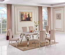 Louis Real Marble Dining Table With Stainless Steel Chrome Base 160CM  6 chairs
