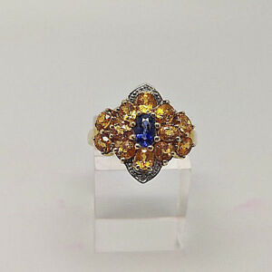 Gorgeous 9ct Gold Citrine, Sapphire & Diamond Cluster Ring. Goldmine Jewellers.