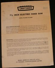 Craftsman 7 1/2 Inch Electric Hand Saw Brochure