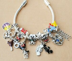 Disney Parks Ever After Minnie Mickey Hat Carousel Balloon Pluto Charms Bracelet