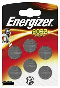 6 x Energizer CR2032 3V Lithium Coin Cell Battery 2032 Cell
