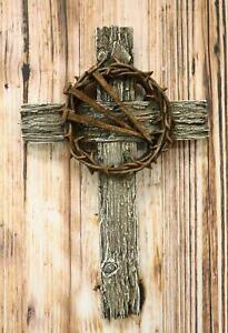 Rugged Crucifix With Faux Rusted Driven Nails And Crown Of Thorns Wall Cross 3D