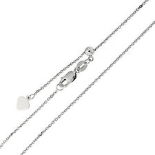 """Sterling Silver Rhodium Plated Diamond Cut 1mm Cable Chain Necklace up to 22"""""""