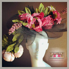 Huge Big Black Pink Hues Fascinator Peony Flowers Derby Race Day Hat Contest XL