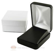 """Black Faux Leather Pendant  Earring Jewelry Gift Box 2 1/4"""" x 3"""" x 1 1/4""""H"""