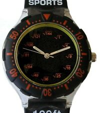 """""""Math Dial"""" Shows Square Root At Each Hour Indicator On The Black Sport Watch"""