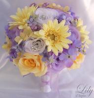 17pcs Wedding Bridal Bouquet Set Decoration Package Silk Flowers LAVENDER YELLOW