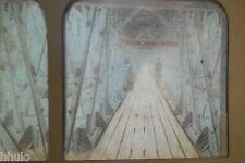 STA463 Fribourg Viaduc Grand Fey STEREO photo albumen transparente colorisé