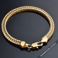 18k Gold Armkette Massiv 6MM Panzerkette Armband Herren Damen vergoldet edel 35€