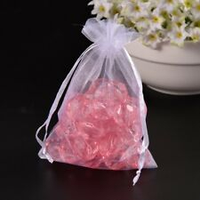 100PCS Organza Jewelry Gift Bags For Party Wedding Candy Pouch With Ribbon White