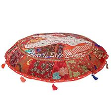 Indian Ottoman Pouf Fllor Cushion Cover Handmade Patchwork Embroidered Pillow