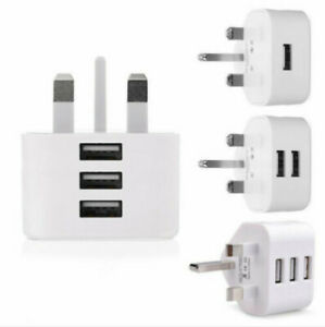 Mains 3 Pin UK Plug 3 AMP USB Adapter Wall Charger home Charging for Phones New