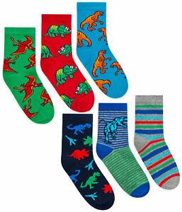 Boys Socks 3 Pairs Dinosaur Ankle Socks Kids 3 PACK UK Size 6-8.5 9-12 12-3.5