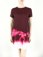 Vince Tie Dye Short Sleeve Dress Burgundy Red 10 $395 8600 BM7