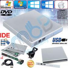 Plata USB 2.0 a IDE CD DVD RW Portátil Funda Cubierta de gabinete ROM externo Caddy