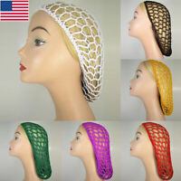Women Soft Rayon Snood Cap Hair Net Crochet Hairnet Knit Hat Hairband Head Cover
