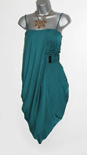 Karen Millen oscuro verde sedoso Georgette Harem estilo Formal partido talla 10