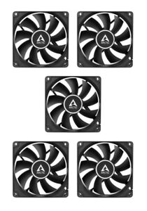 5 x Pack Arctic f8 stillen schwarz, 80mm 8cm schwarz PC Gehäuselüfter, hohe Leistung