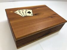 Vintage Mid Century Cedar Wood Playing Card Case/Box (INCL New Decks Of Cards!!)