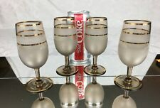 Set of 4 Vintage Mid Century Barware Frosted Gold Cordial Wine Glasses Stemware