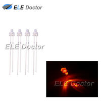 100pcs 2mm Water Clear Orange Light Round Top Transparent LED Diodes Blub