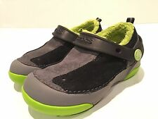 Crocs Boys' Black/Gray Suede Faux Fur Shoes Youth Size 11