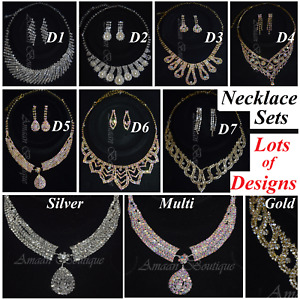 NEW BRIDAL CRYSTAL NECKLACE & EARRINGS DIAMANTE SET UK PROM WEDDING PARTY JEWEL