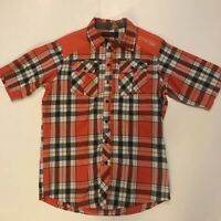 COOGI Mens Button Front Shirt Red Black Plaid Its A Lifestyle! Short Sleeve L