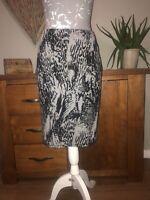 M&S Ladies Grey Black Animal Print Skirt Size 14 Worn Once Only