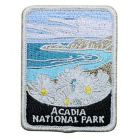 """Acadia National Park Patch - Daisies, Maine Official Traveler Series 3""""(Iron on)"""