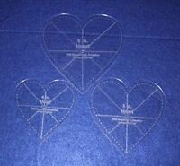 Clear 1//4 Thick w//guidelines 4,5,6 Heart Template 3 Piece Set
