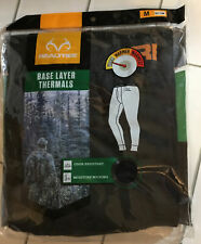 Realtree Black Polyester Base Layer Thermals Size Medium Bottom new