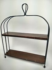 Rustic Metal & Faux Wood Double Shelf Wall Hanging or Tabletop Decor Display