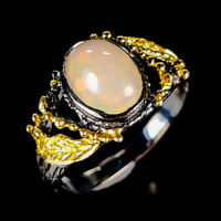 Beauty Rainbow8x6mm Natural Opal 925 Sterling Silver Ring Size 6.5/R124597