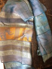 """100% Silk Scarf parle Made in Cambodia 66"""" X 19"""" Authentic Traditional Blue"""
